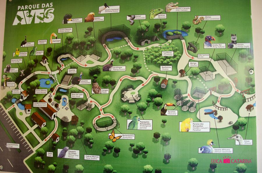 Circuito de visitação do Parque das Aves.